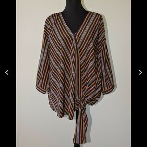 Eloquii Blouse Shirt Striped Faux Wrap Top 22